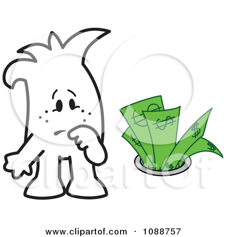 Clipart Squiggle Guy Watching Money Going Down The Drain.