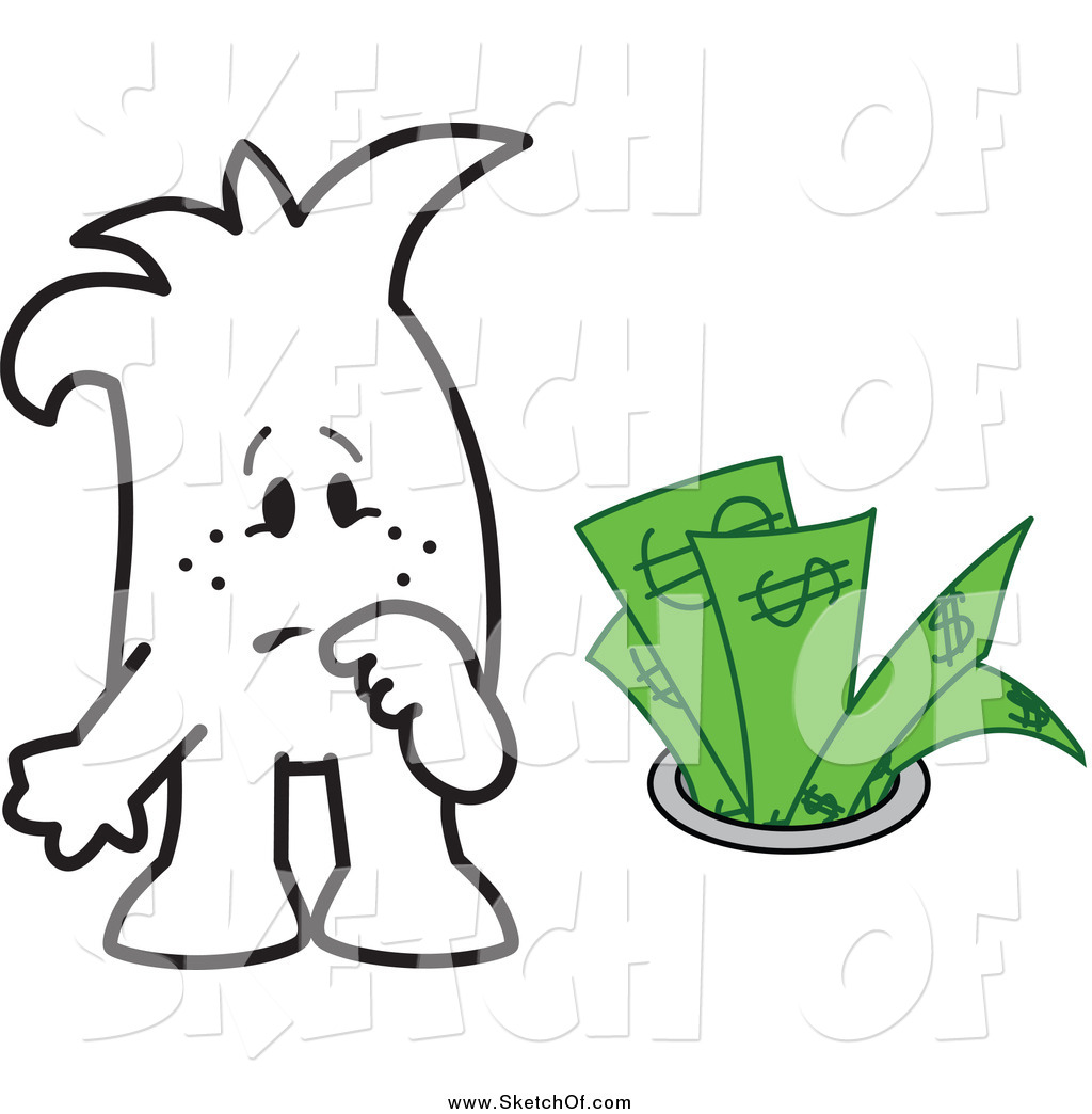 Drawing of a Sketched Squiggle Guy Watching Money Going down the.