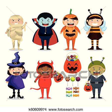 Group of children dressed up in halloween Clipart.