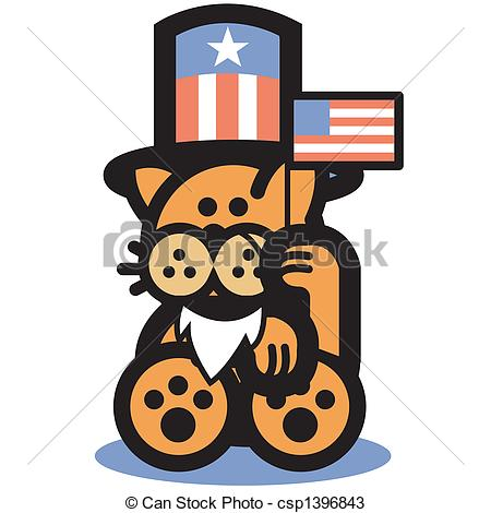 Cat Uncle Sam 4th Of July Clip Art.