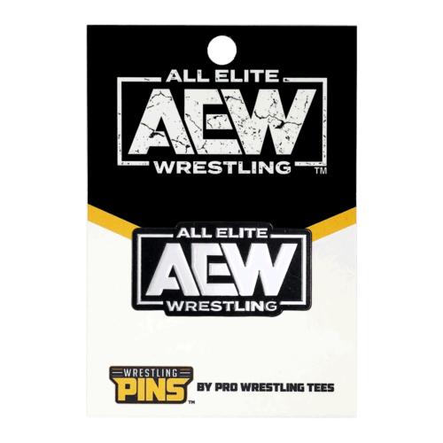 AEW White Logo Wrestling Pin.