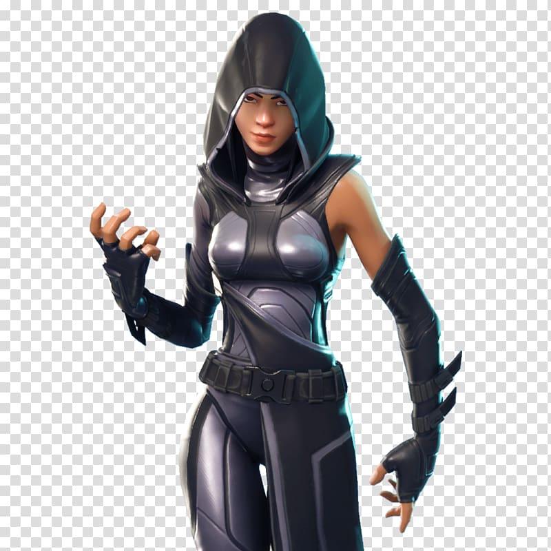 Woman wearing gray and black hoodie, Fortnite Battle Royale.