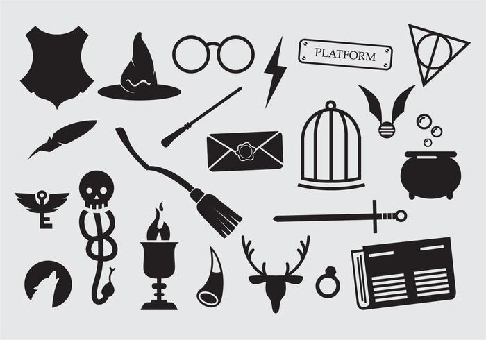 Large set of sorcery wizard icons.