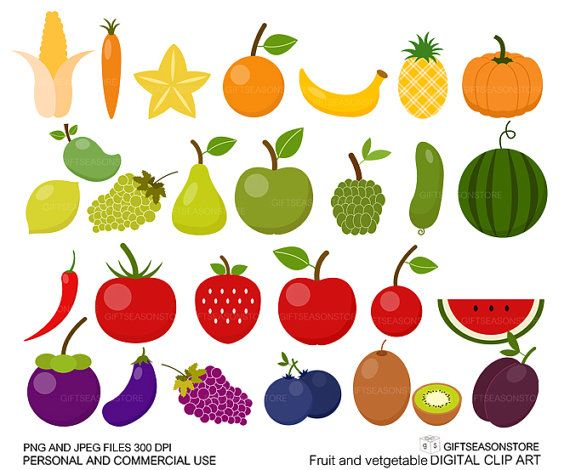Fruit and Vegetable clip art for Personal and Commercial use.