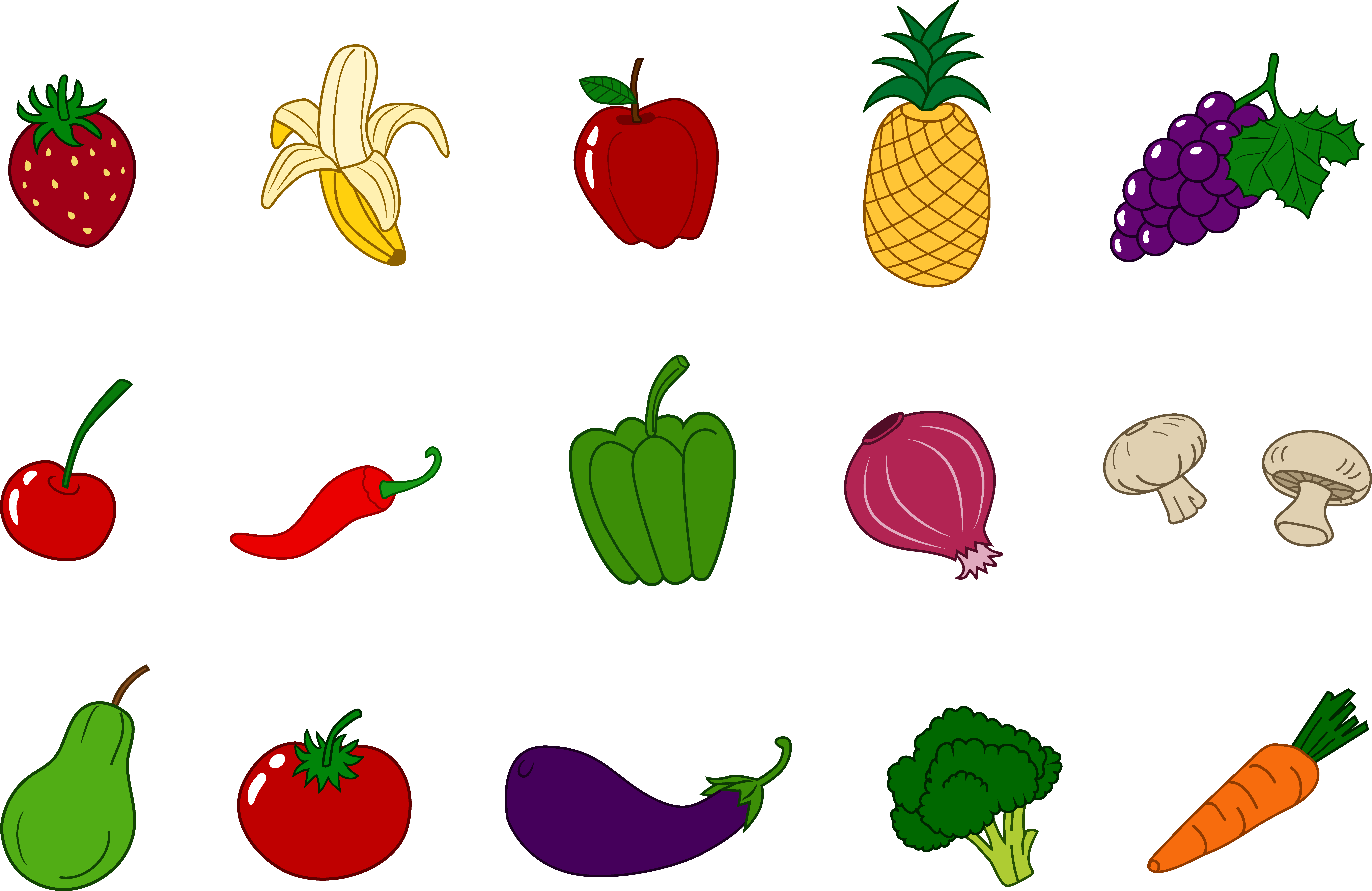 Fruits and Vegetables Clipart Set.