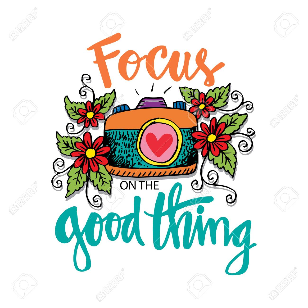 Focus on the good things. Motivational quote poster..