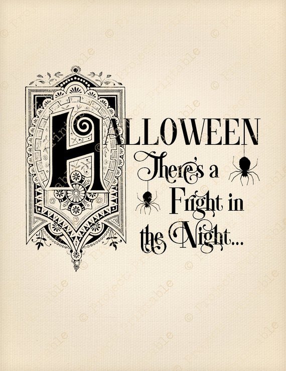 Instant Download Printable HALLOWEEN Spider Text Graphics.