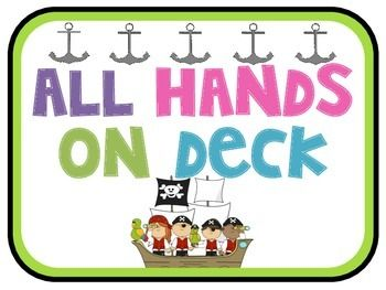 All Hands on Deck Pirate Job Chart for Back to School.