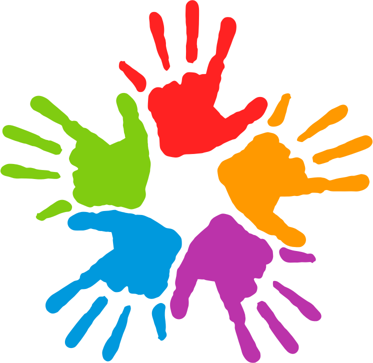 Free Five Colorful Hands Clip Art.