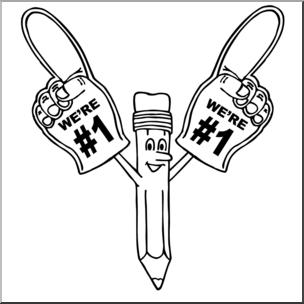 Clip Art: Cartoon We\'re Number One B&W I abcteach.com.