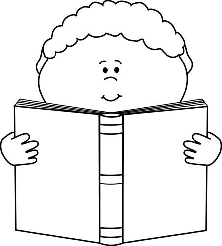 Black and White Little Boy Reading a Book Clip Art.