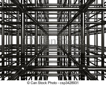 Clipart of Abstract Metal Construction Stock 3D Illustration.