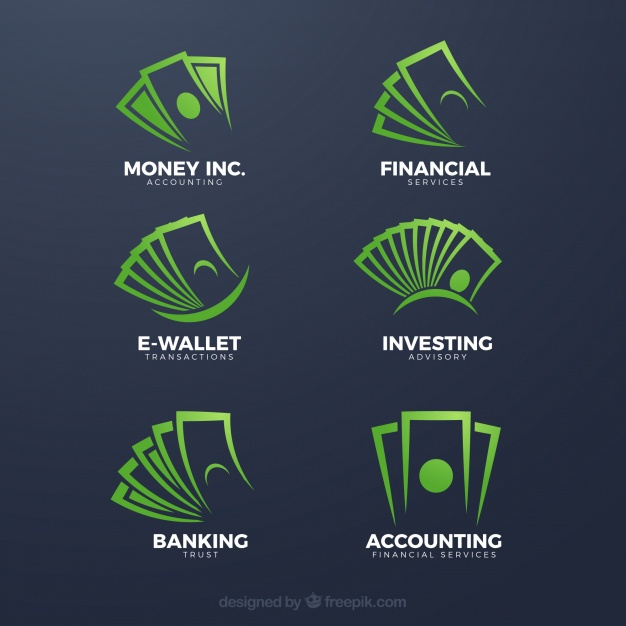 Green money logo template collection Vector.