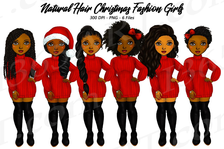 Merry Christmas Black Girl Natural Hair Fashion Clipart.