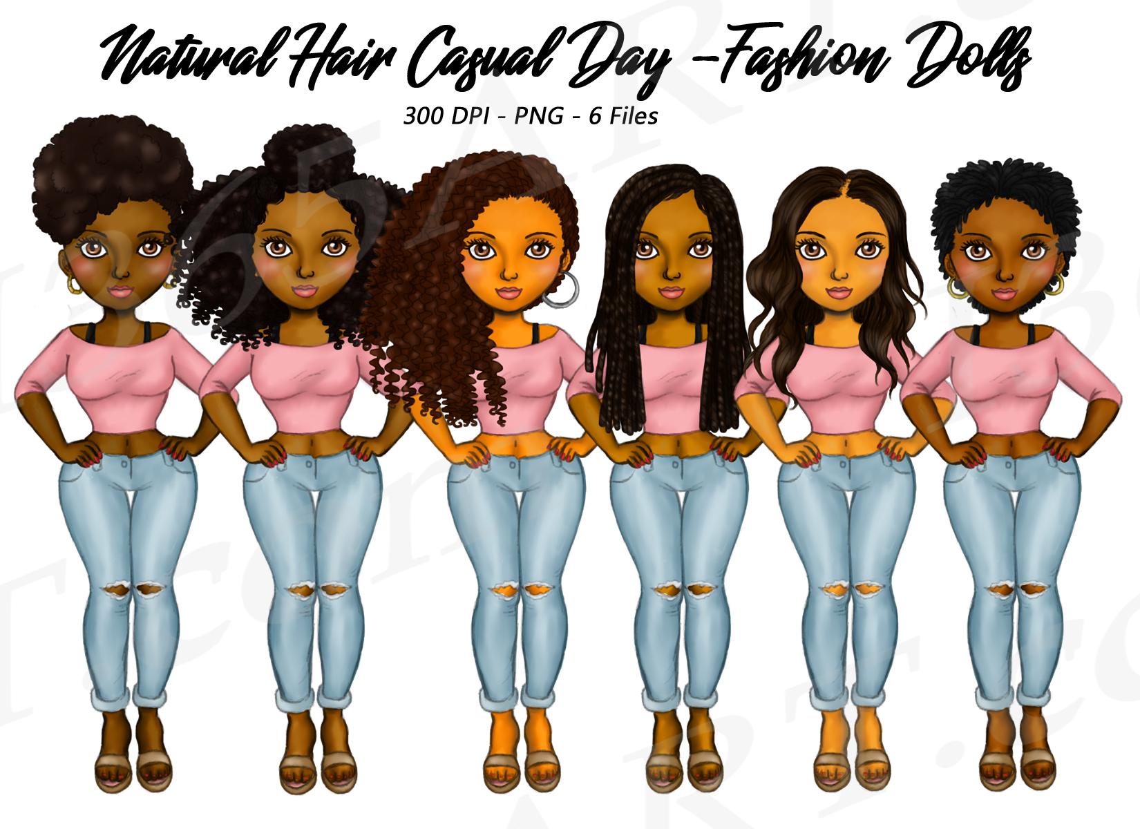 Black Fashion Girl Clipart Natural Hair Fashion Dolls PNG.