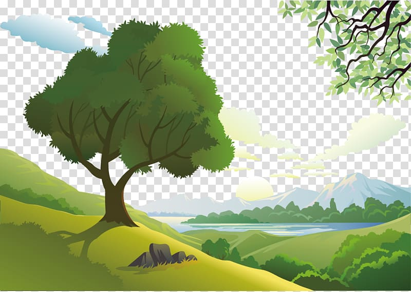 Green trees under cloudy sky illustration, Natural landscape.