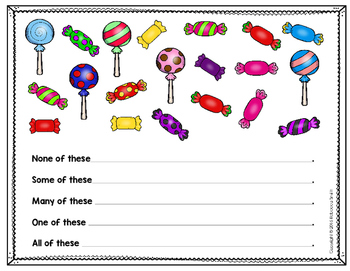 Candy Math: Words of Comparison (none, some, many, one, all) Indiana K.NS.9.