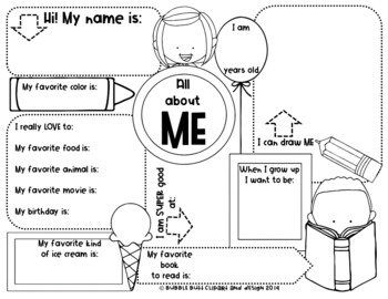 FREE About Me printable.