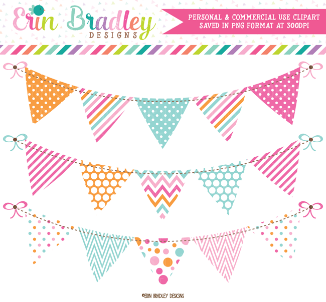 Pink Blue Orange Bunting Commercial Use Clipart.