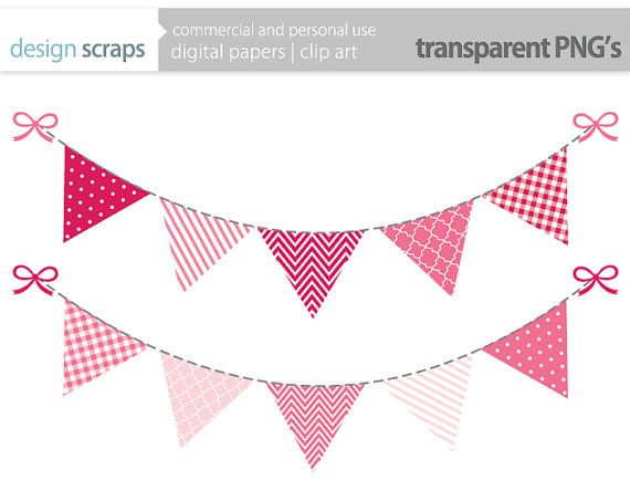 pink bunting banner clip art flag banner digital by.