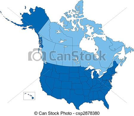 Vector Clipart of USA and Canada, States and Provinces, Blue Color.