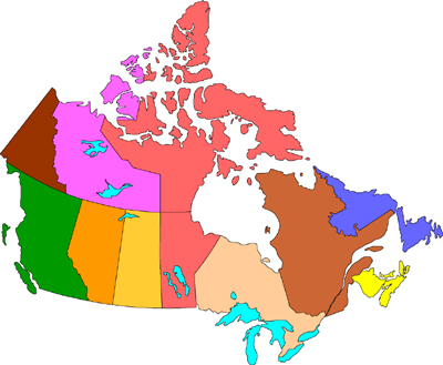 Free clip art map of canada.