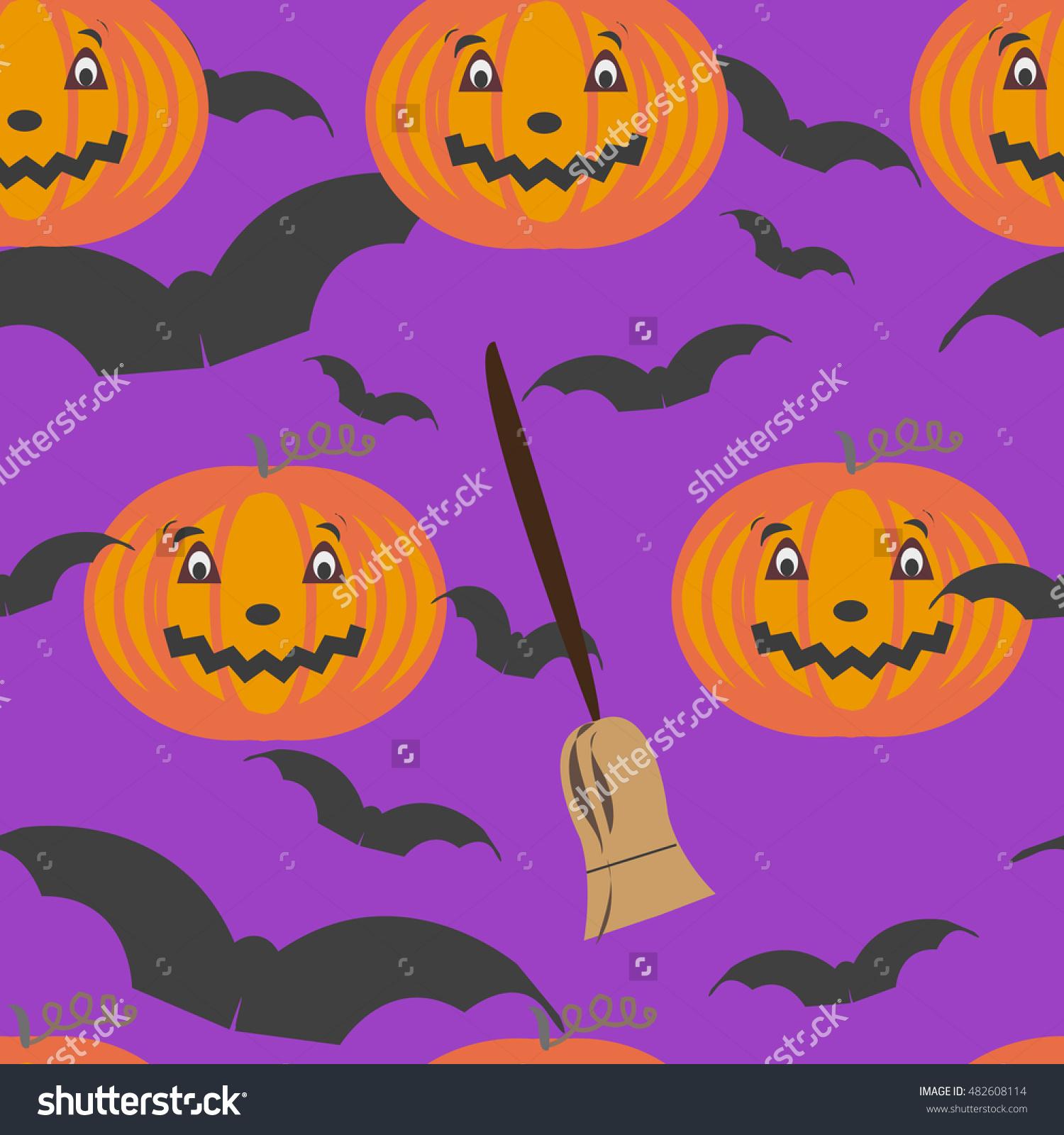 seamless pattern of All Saints Day. pumpkin, broom and bat. vector.