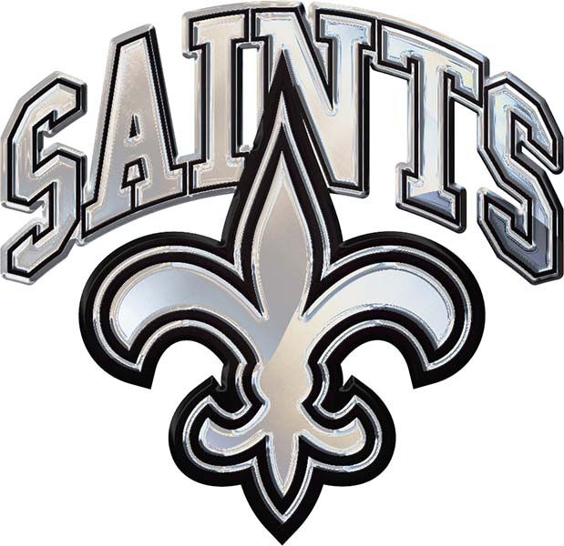 Details about New Orleans Saints \'Saints\' Chrome Solid Metal Auto NFL Team  Logo Emblem.