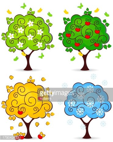 tree four seasons Clipart Image.