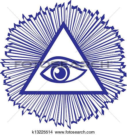 Clip Art of All seeing eye of providence. Masonic symbol k26174467.