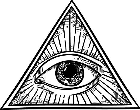 Black and White All Seeing Eye of Providence in Simple Pyramid Vinyl Decal  Sticker (4\