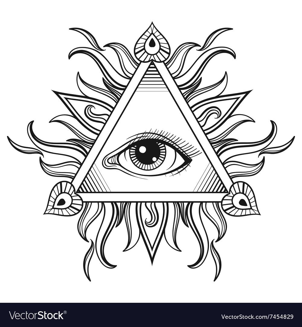 All seeing eye pyramid symbol in tattoo.