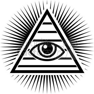 all seeing Illuminati eye pyramid clipart. Royalty.
