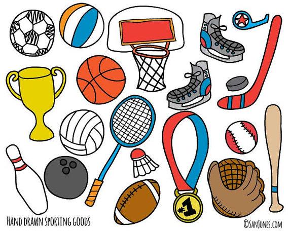 Sports Clip Art Hand Drawn Clip Art Sporting by SanJonesDigi.
