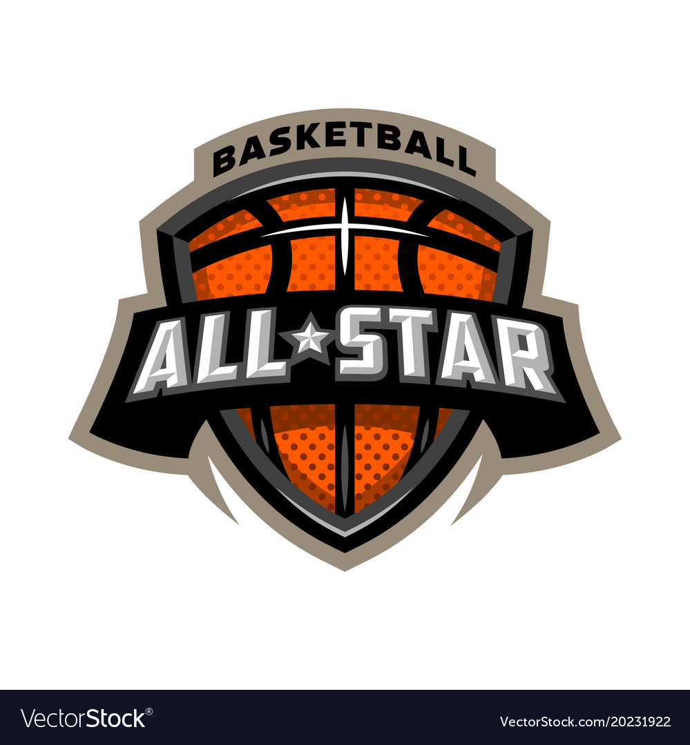 All star basketball sports logo emblem.