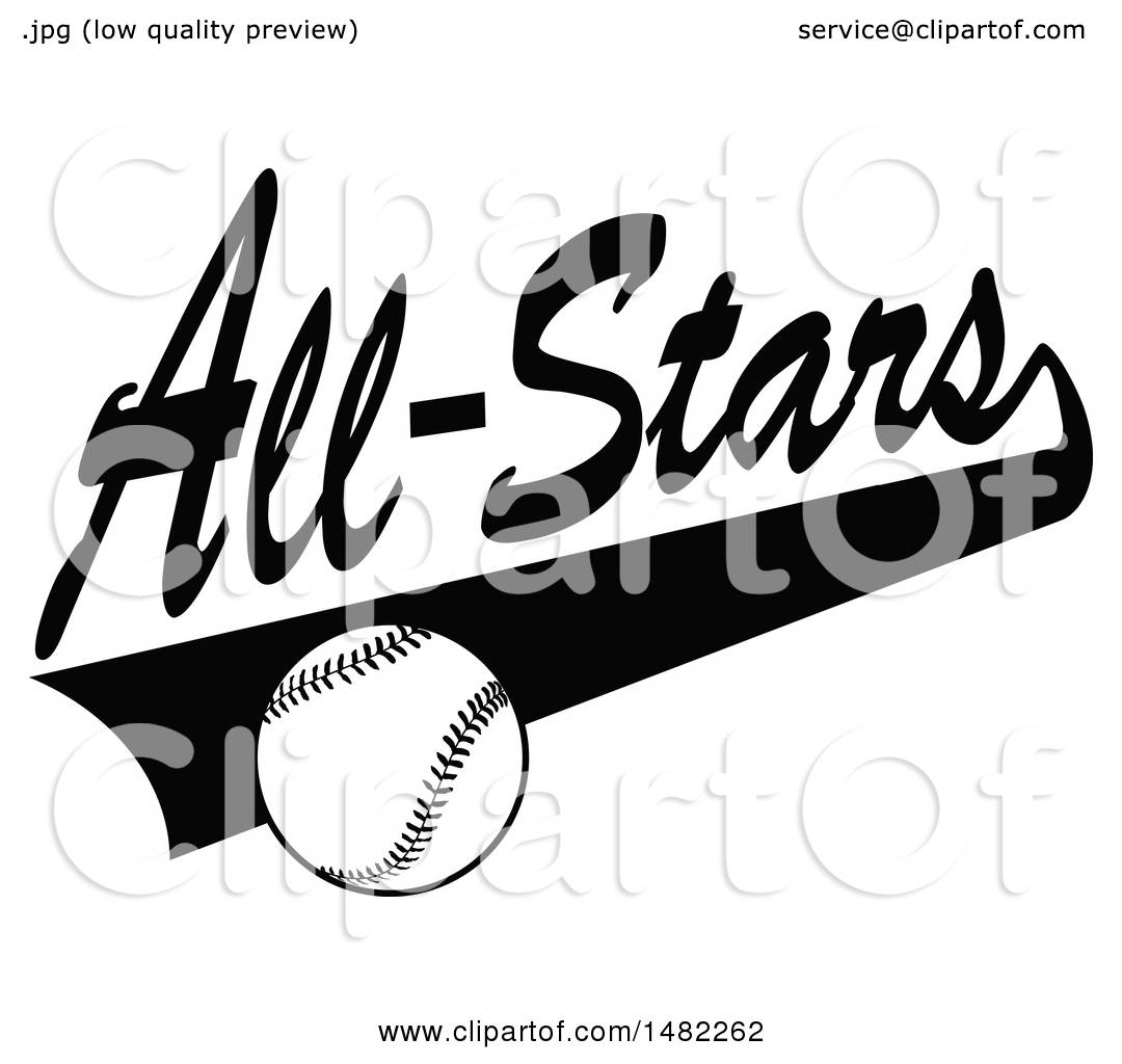 Clipart of a Baseball and Swoosh Under All Stars Text.