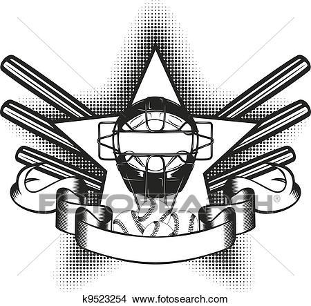 Baseball mask in star Clipart.