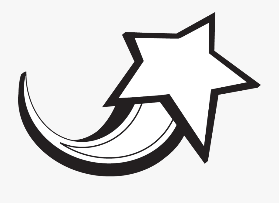 Black And White Shooting Star Clipart.