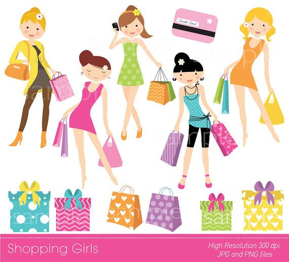 Digital Clipart Shopping girls for by YelloWhaleDesigns on.