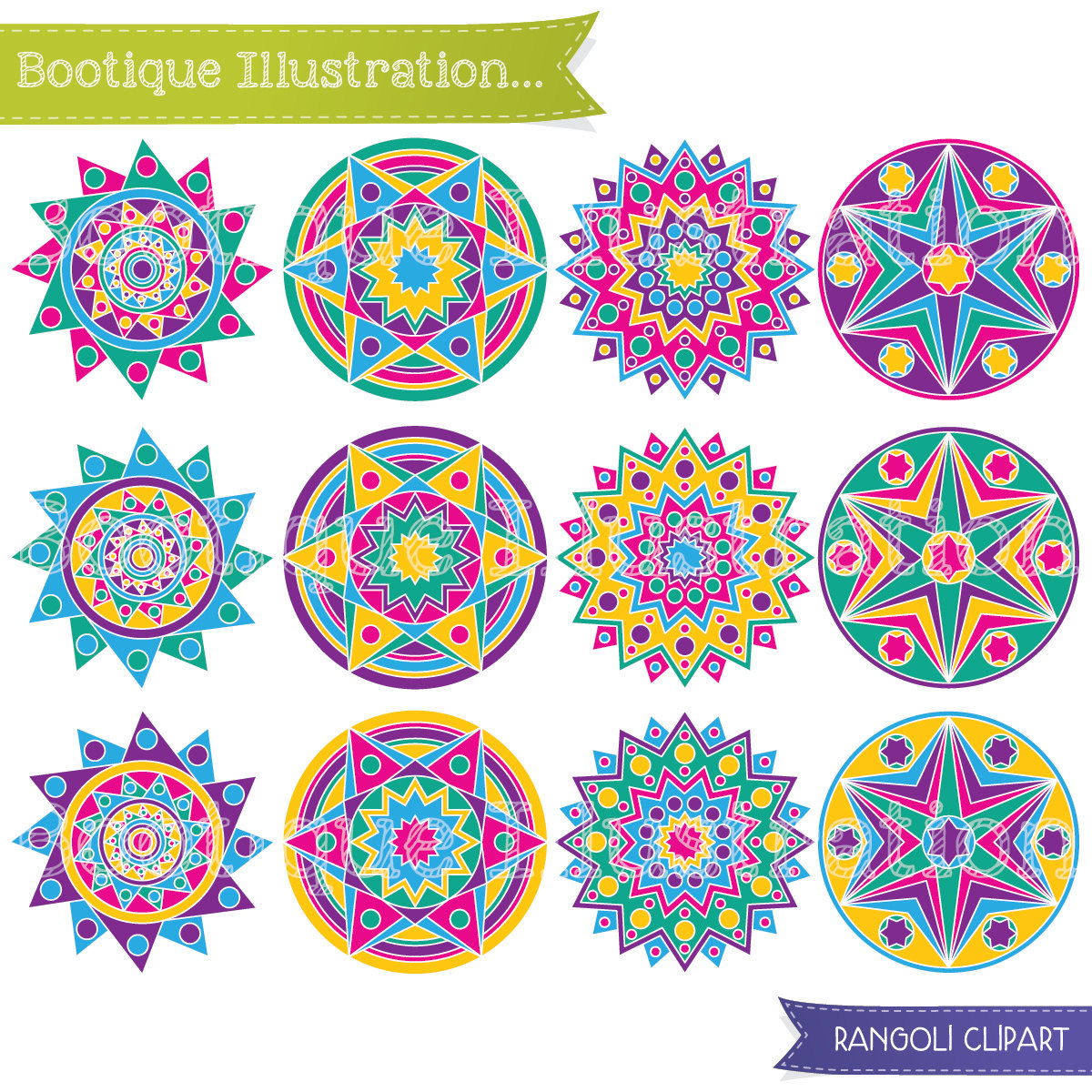 Geometric Stars Digital Clipart. Rangoli by BootiqueIllustration.