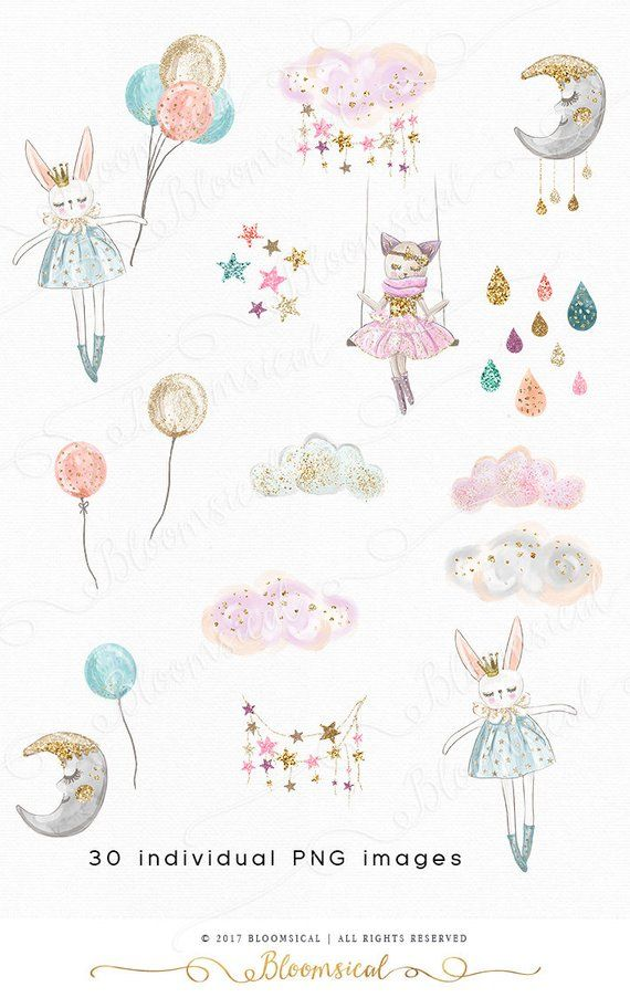 Sweet Dreams Clip art Hand drawn Whimsical Moon Clouds Stars.