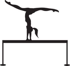 Girl Gymnastics Clipart Silhouette.