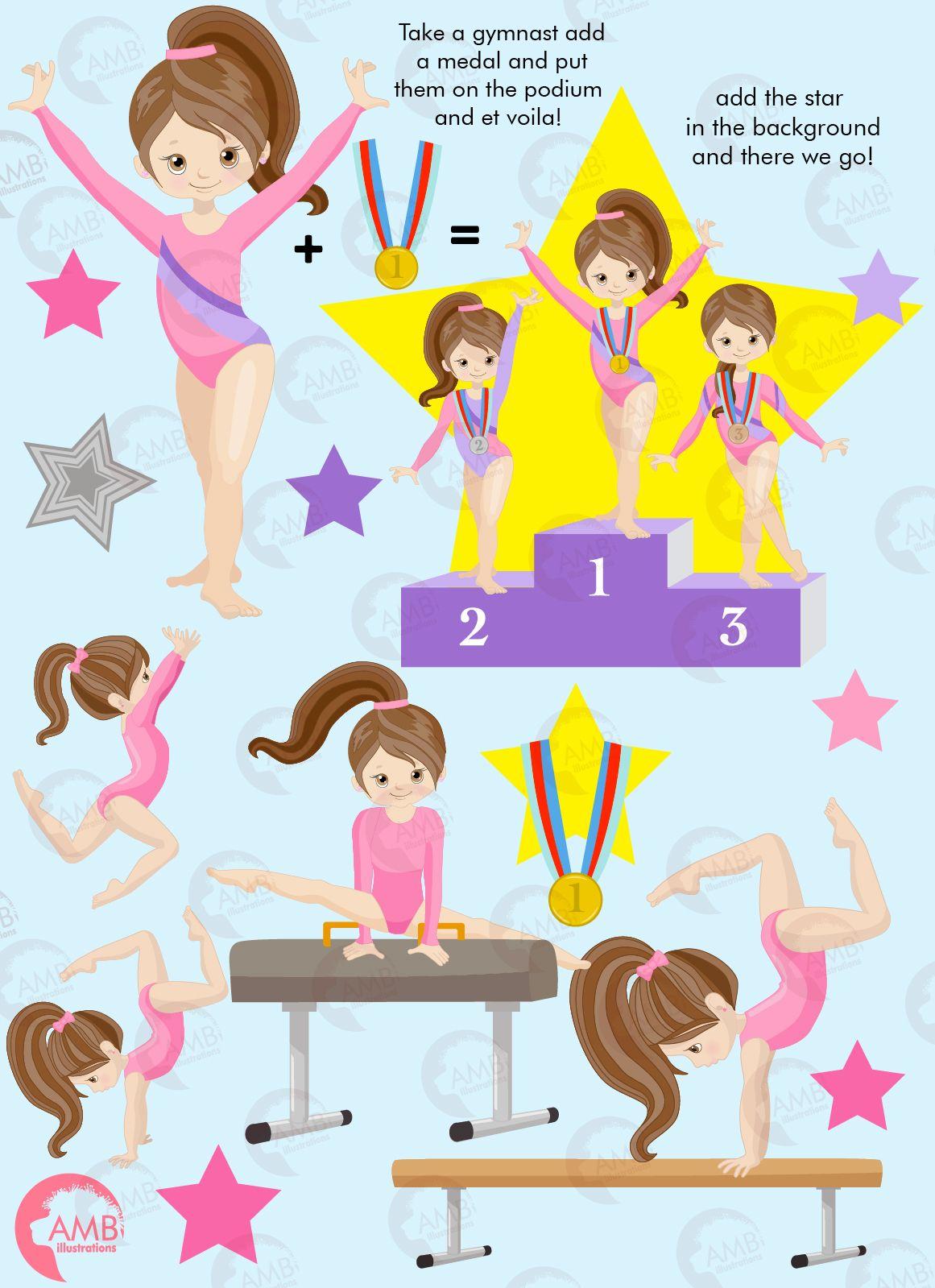 Gymnastic Girls clipart, Gymnast mini bundle, Gymnast.