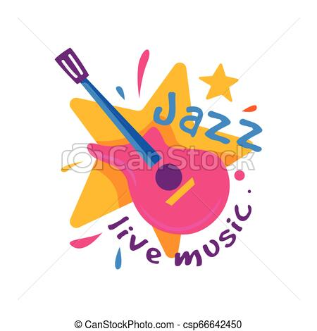 Creative badge for jazz club. Live music. Emblem with orange star and pink  guitar. Musical instrument. Flat vector.