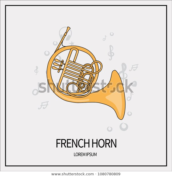 French Horn Copper Pipes Jazz Instrument Stock Vector.