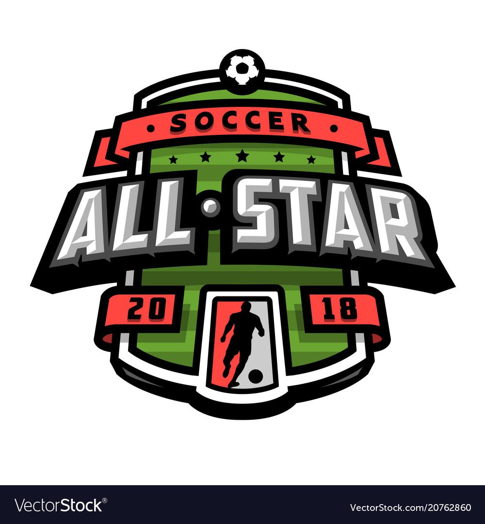 All stars of soccer logo emblem.