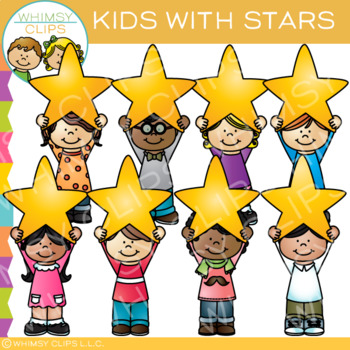 Kids and Stars Clip Art.