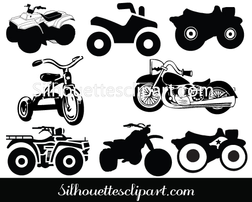 ATV Motorcycle Silhouette Clip Art Pack Download.