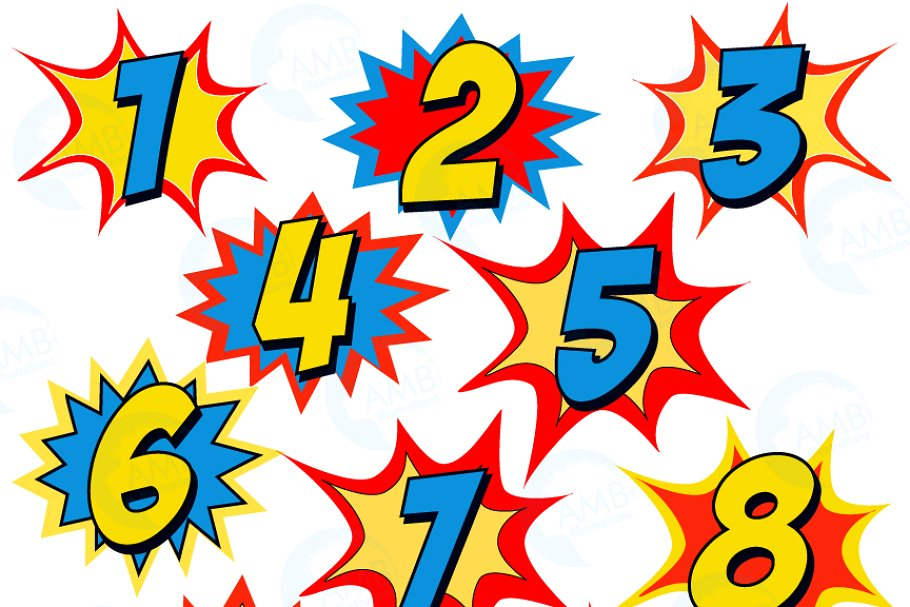 Starburst Numbers Clipart, 1340 ~ Illustrations ~ Creative.