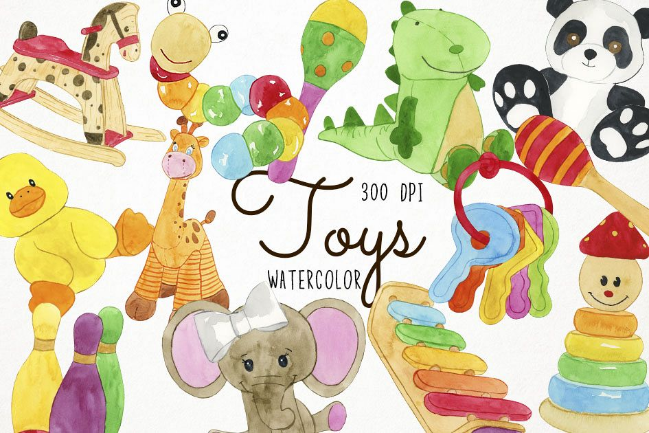 Watercolor Toys Clipart, Toys Clip Art, Toy Clipart.